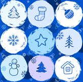 Snow globes, seamless background, blue. Stock Photos