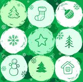 Snow globes, seamless background, green. Royalty Free Stock Image