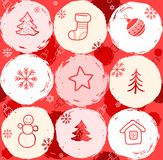 Snow globes, seamless background, red. Stock Images