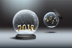 Snow globes with 2018 and 2017 year signs. Falling snow globe with 2017 number and standing snow globe with 2018 number. Vector illustration Royalty Free Stock Images
