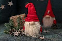 Snow gnomes or elves. Christmas toy. Selective focus