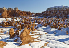 Snow in Goblin Valley Royalty Free Stock Images