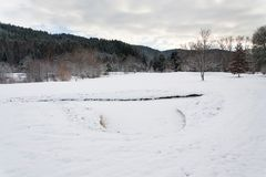 Snow on golf course in winter, forest background, copy space. Snow on golf course landscape in winter with forest in background, copy space Royalty Free Stock Photos