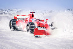 Snow groomer f1 car. Fast clean machine snowcat royalty free stock image