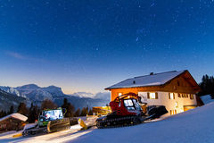 Snow groomer nightscape Royalty Free Stock Image