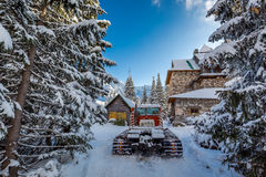Snow groomer in winter in Tatra Mountains Royalty Free Stock Images