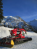 Snow grooming equipment. Large machine use to groom snow on ski slopes and trails at a ski resort Stock Photo