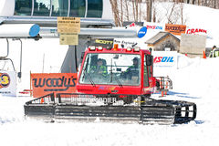 Snow grooming machine. Haystack Mountain ski ,Vermont stock image