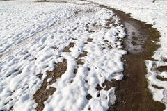 Snow on the ground in nature. In the park in nature Stock Photos
