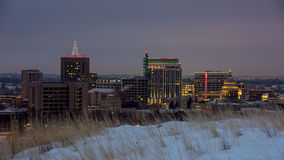 Snow on the grouns and the Boise skyline night Stock Photography