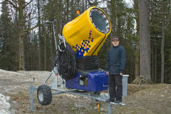 Snow gun. And a boy. Carpathian mountains Stock Images