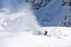 Snow gun in the mountains Stock Image