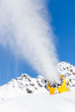 Snow gun in the mountains Royalty Free Stock Photos