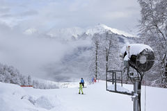 Snow gun in Rosa Khutor Alpine Resort Stock Photos