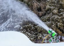 Snow gun. Ski resort of Selva di Val Gardena, Italy Royalty Free Stock Image