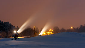 Snow guns at night Stock Photography