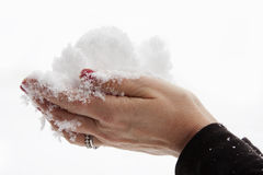 Snow in hand Stock Photos