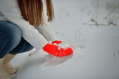 Snow in hand Stock Photography