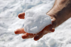 Snow in a Hand. Male hand with an opened palm holding a piece of snow Royalty Free Stock Image