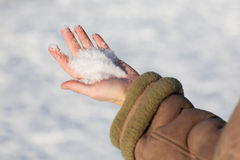 Snow in hand Royalty Free Stock Images