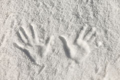 Snow hand prints Stock Images