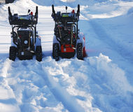 Snow handling equipment. On the freshly fallen snow royalty free stock images