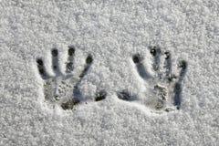 Snow Hands Stock Image