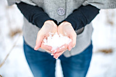 Snow in the hands Royalty Free Stock Image