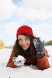 Snow in the hands of Stock Image