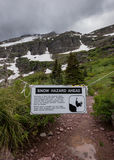 Snow Hazard Trail Closed Sign. Warns Hikers of Upcoming Dangers royalty free stock photos