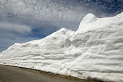 Snow heap on side road Royalty Free Stock Photo