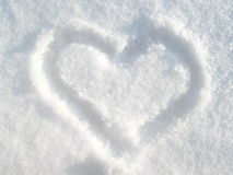 Snow heart. A hart shape in the snow detail Stock Photography