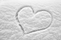 Snow heart. Heart on a fresh snow Royalty Free Stock Images