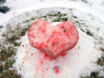 Snow heart. This is a card for St. Valentine's Day with snow heart Stock Images