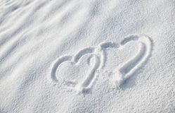 Snow heart shape Stock Photography