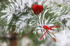 Snow hearts red winter two Stock Images