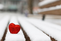 Snow hearts red winter two Stock Photos