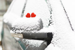 Snow hearts red winter two Stock Photo
