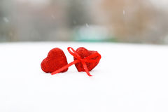 Snow hearts red winter two Royalty Free Stock Photos
