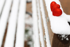 Snow hearts red winter two Royalty Free Stock Images
