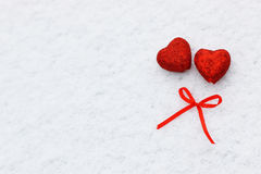 Snow hearts red winter two Stock Photography