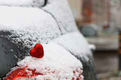Snow hearts red winter two. Snowy day shape of hearts red color in winter day Stock Photography