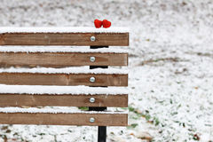 Snow hearts red winter two. Snowy day shape of hearts red color in winter day Royalty Free Stock Images