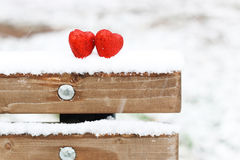 Snow hearts red winter two Royalty Free Stock Photo