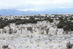 Snow in High Desert Santa Fe, New Mexico Royalty Free Stock Images