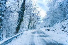 Snow in the highway Royalty Free Stock Photos