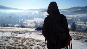 Snow Hiking Blizzard Man Cold Winter stock footage