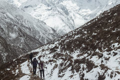 Snow hiking in Himalayas Royalty Free Stock Photos
