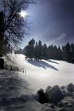Snow hill. Snow mountain view of a swiss landscape royalty free stock photo
