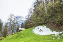 Snow hill in hallstatt city Royalty Free Stock Photo
